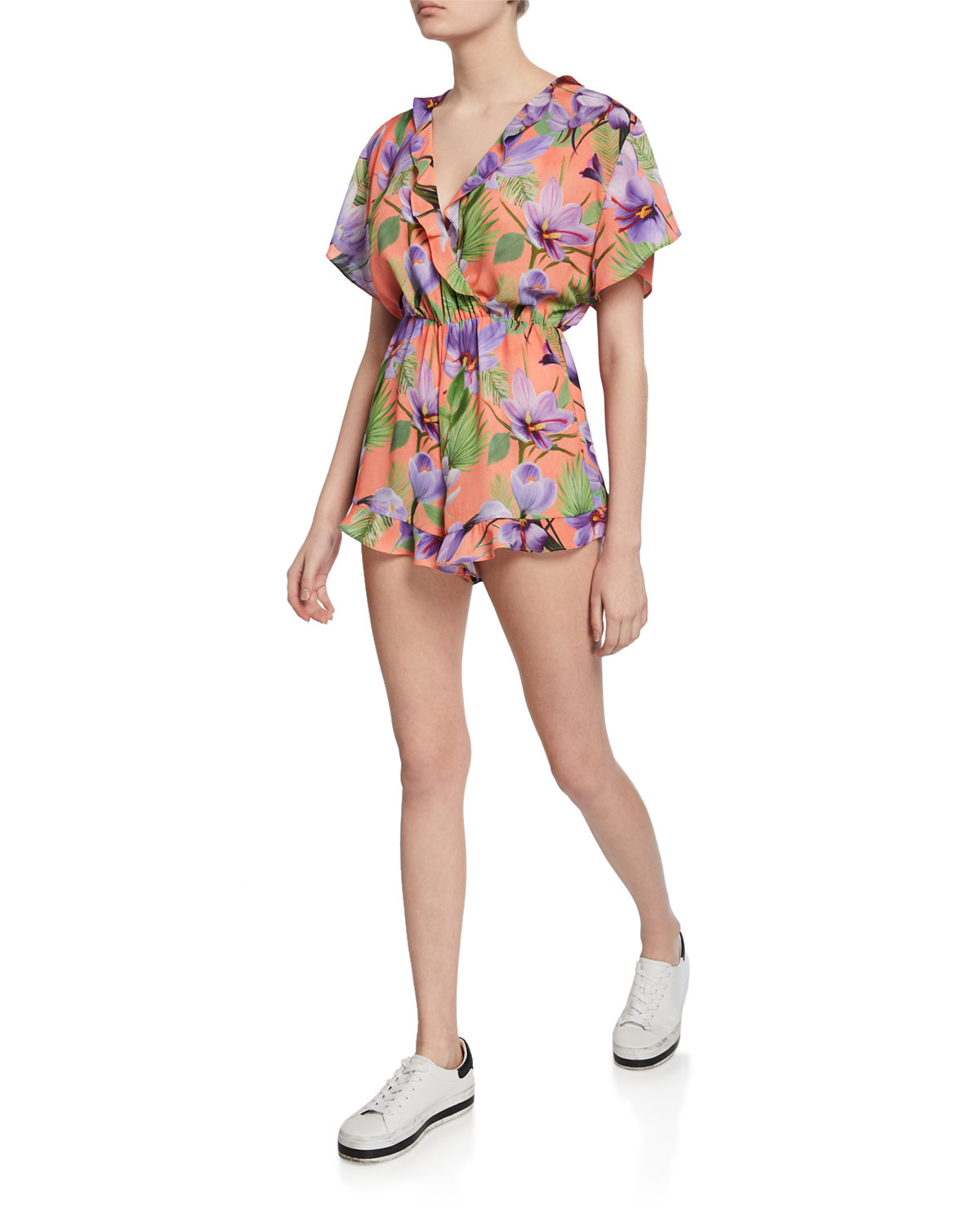 Sachi Floral Print Short Sleeve Ruffled Romper