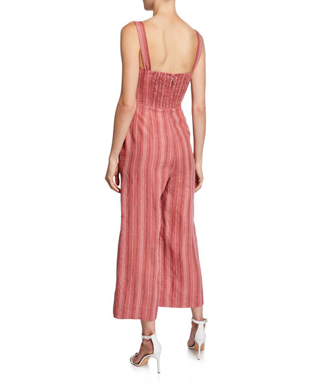 Rebecca Taylor Sleeveless Striped Wide-Leg Jumpsuit