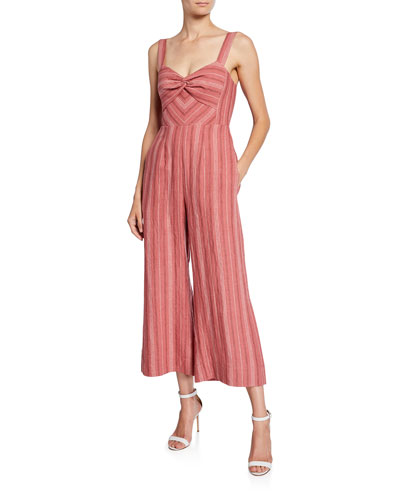 Sleeveless Striped Wide-Leg Jumpsuit