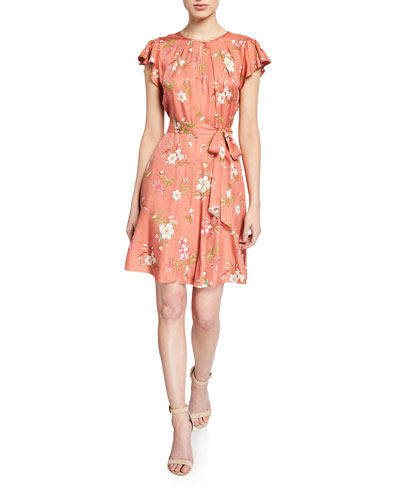 Lita Floral Flutter-Sleeve Keyhole Dress