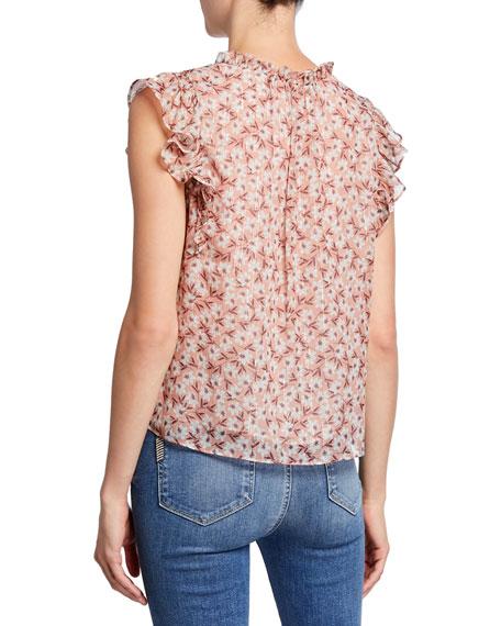 Rebecca Taylor Lucia Floral V-Neck Sleeveless Top