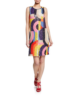 a7e80084113 Trina Turk Kaleidoscope Sequin Sleeveless Sheath Dress