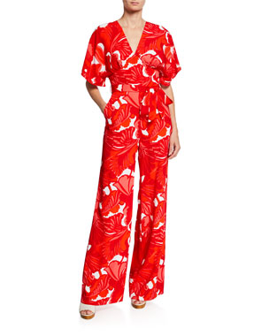 5841c24f621 Trina Turk Formation Abstract-Print Short-Sleeve Wide-Leg Jumpsuit