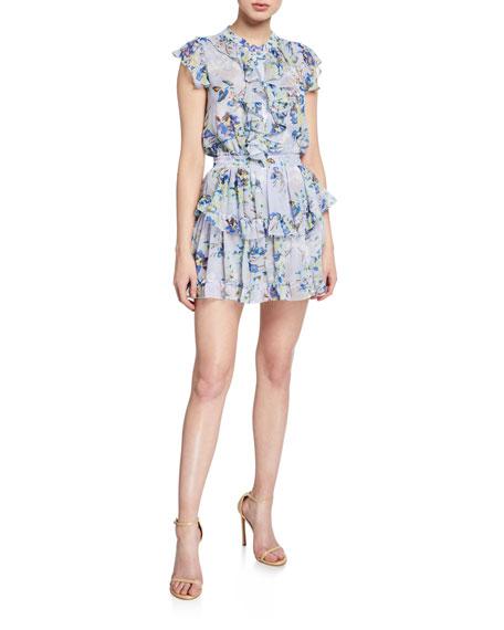 MISA Los Angeles Alona Floral-Print Ruffle Mini Dress