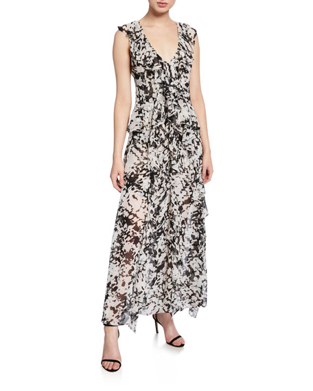 MISA Los Angeles Claudita Printed Sleeveless Ruffle Long Dress