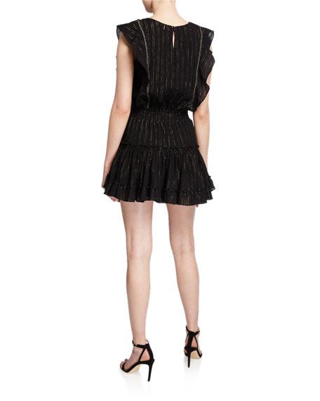 MISA Los Angeles Cielle Sleeveless Metallic Tiered Mini Dress