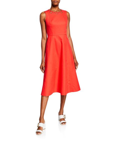 kate spade new york scallop cutout sleeveless a-line midi dress