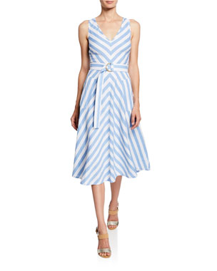 8c9f86afaa kate spade new york deck stripe sleeveless belted midi dress