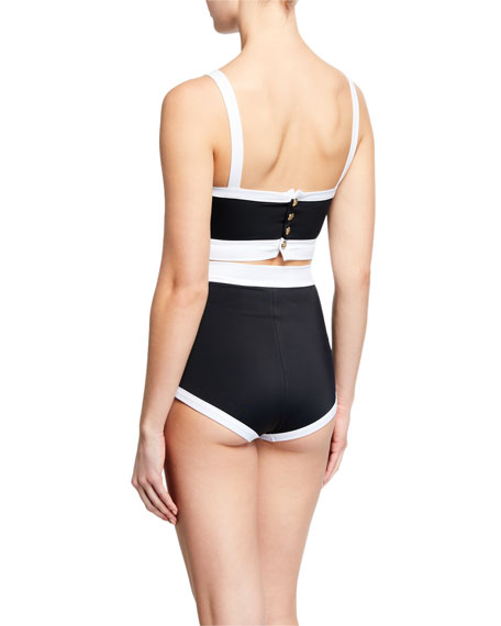 Balmain High-Waist Buttoned Two-Piece Bikini Set