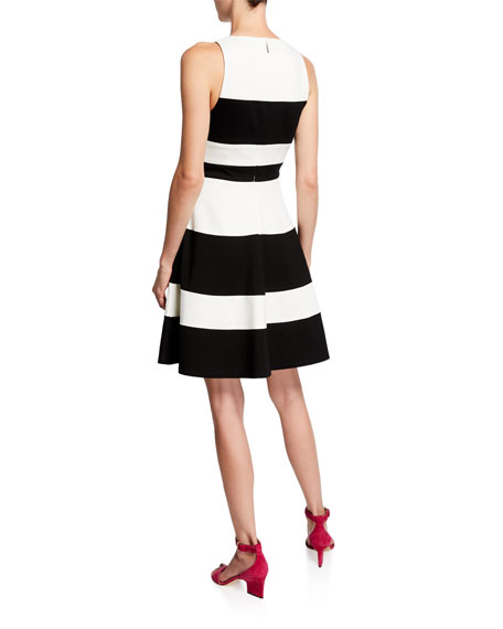 kate spade new york striped a-line ponte dress