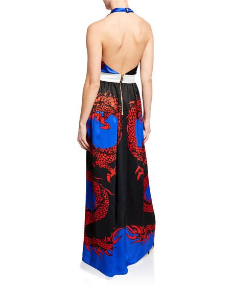 Balmain Dragon-Print Silk Halter Coverup Dress