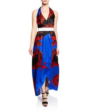 8ab3bda743 Balmain Dragon-Print Silk Halter Coverup Dress