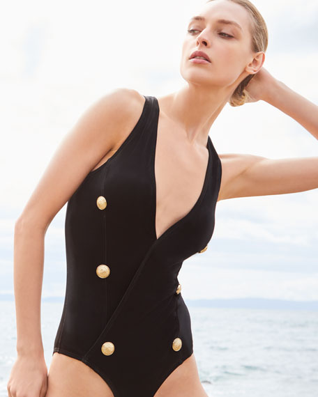 Balmain Plunging Velour One-Piece Swimsuit w/ Buttons