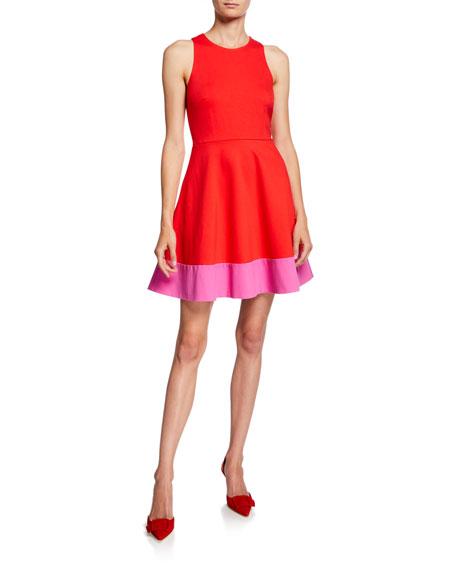 kate spade new york colorblock sleeveless a-line ponte dress