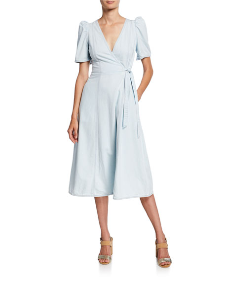 kate spade new york denim midi wrap dress