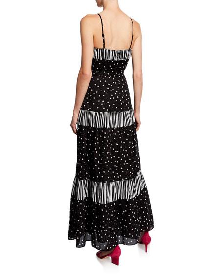 kate spade new york daisy dot mixed print sleeveless a-line maxi dress