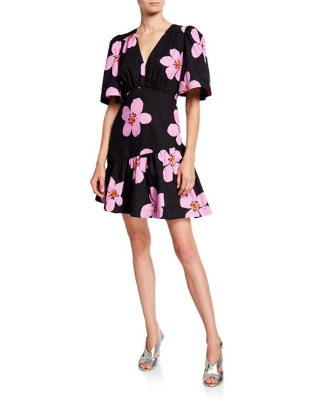 kate spade new york grand flora v-neck short-sleeve empire-waist dress