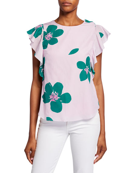 kate spade new york grand flora ruffle-sleeve open-back top