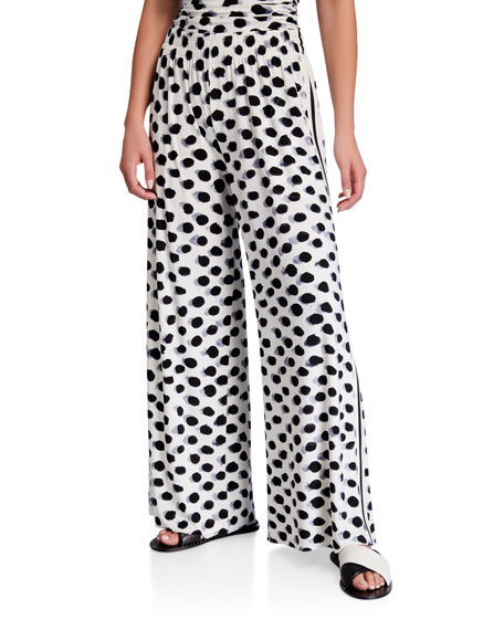 Norma Kamali Side-Stripe Boyfriend Elephant Coverup Pants