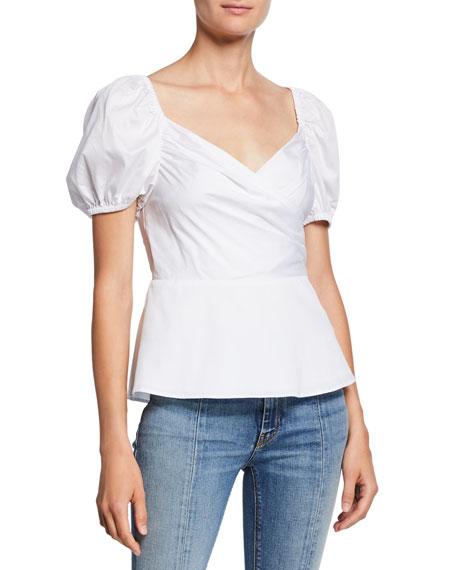 kate spade new york sweetheart puff-sleeve peplum blouse
