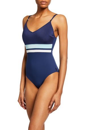 Shan Napoli Striped One-Piece Swimsuit