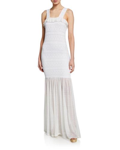 Starlit Stripe Stretch-Lace Sleeveless Maxi Dress