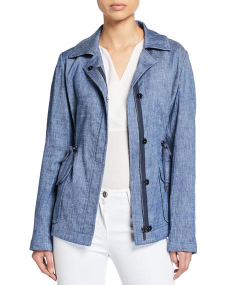 Elie Tahari Helga Zip-Front Chambray Linen Jacket