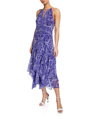 0f4ed389f2 Nanette Lepore Printed Silk Handkerchief Halter Dress
