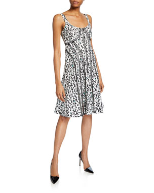 ebd3f513ffa3 Nanette Lepore Leopard Scoop-Neck Sleeveless Fit-&-Flare Dress