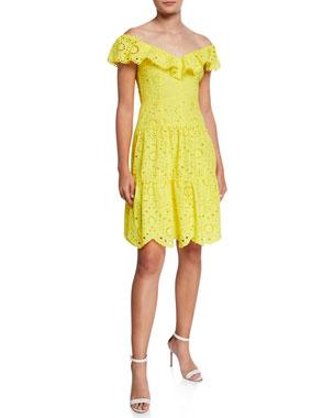 0df54fd069fb0 Nanette Lepore Off-the-Shoulder Tiered Eyelet Dress