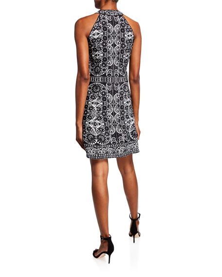 Nanette Lepore Zip Printed Halter Dress