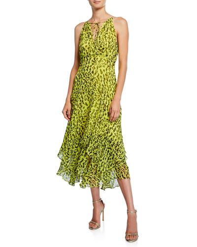 Leopard V-Neck Sleeveless Maxi Dress