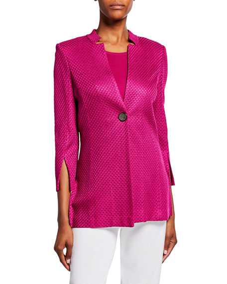 Misook Petite Textured 3/4-Sleeve One-Button Long Jacket