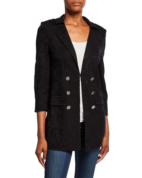 Misook Plus Size Textured Double-Breasted Long Jacket