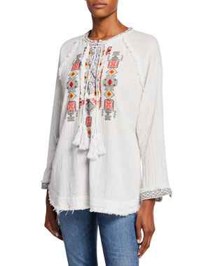 0909382d37 Johnny Was Jonnie Lace-Up Long-Sleeve Embroidered Cotton Gauze Blouse