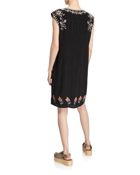 Johnny Was Yvonne Floral Embroidered Sleeveless Shift Dress