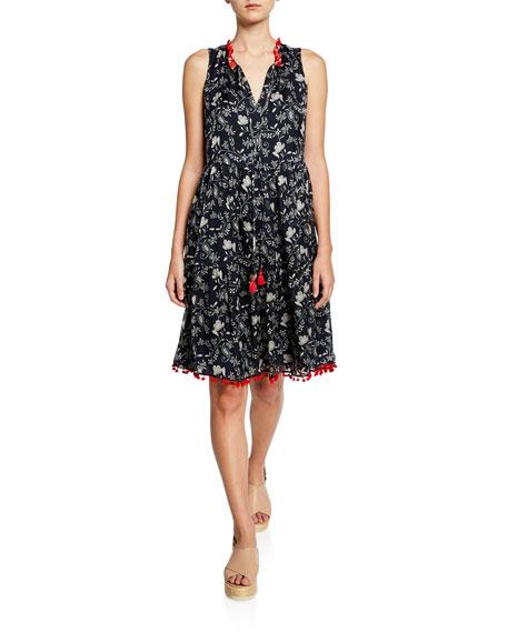 Johnny Was Susila Floral-Print Sleeveless Tiered Dress w/ Mini Pom Trim