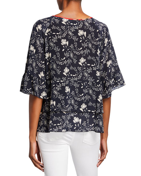 Johnny Was Plus Size Lago Printed Split-Neck Short-Sleeve Tiered Top
