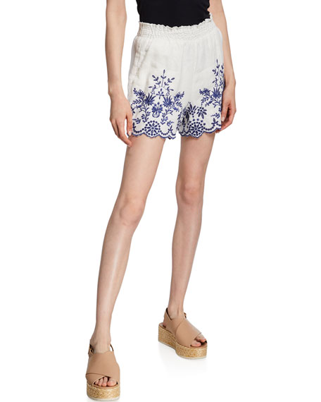 Johnny Was Pilar Embroidered Linen Shorts
