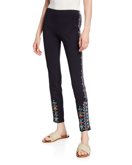 Johnny Was Amaris Stretch-Cotton Leggings with Embroidery