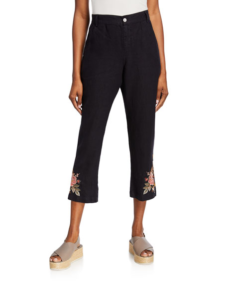 Johnny Was Paolo Floral Embroidered Cropped Linen Pants