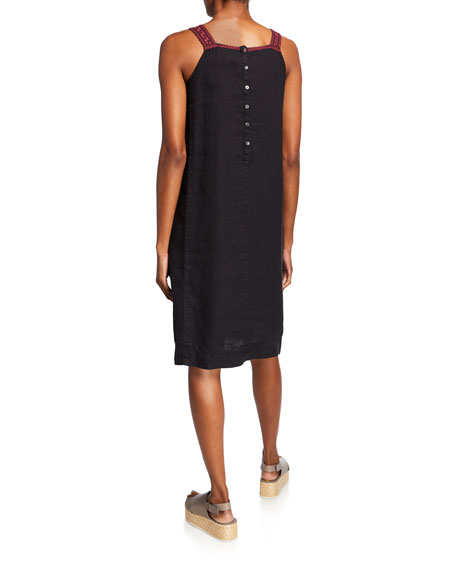 Johnny Was Camille Embroidered Button-Back Sleeveless Linen Jumper Dress