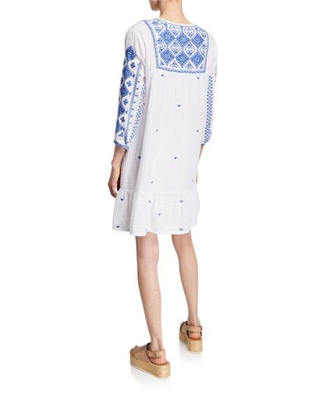Johnny Was Azure Embroidered 3/4-Sleeve Effortless Boho Dress
