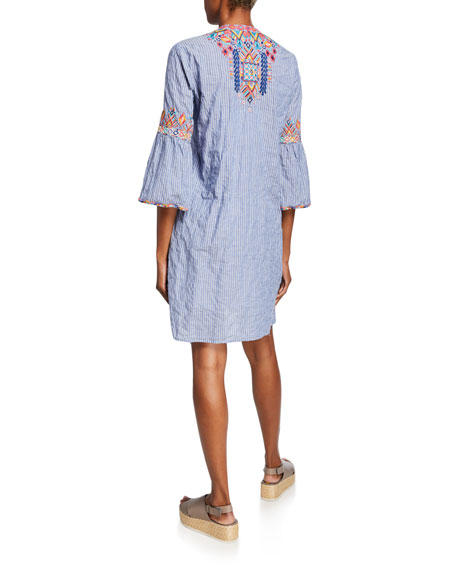 Johnny Was Shankara Lanai Stripe Flare-Sleeve Embroidered Tunic Dress