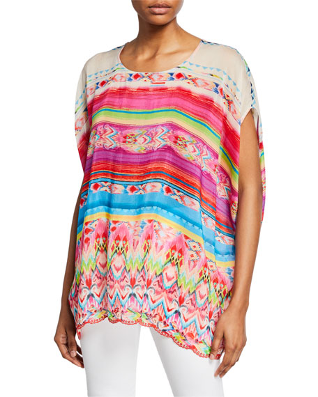 Johnny Was Tulum Printed Oversized Short-Sleeve Georgette Tunic