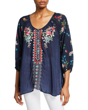 f92194ea616c6c Johnny Was Sheera Embroidered 3/4-Sleeve Georgette Blouse w/ Floral Printed  Back