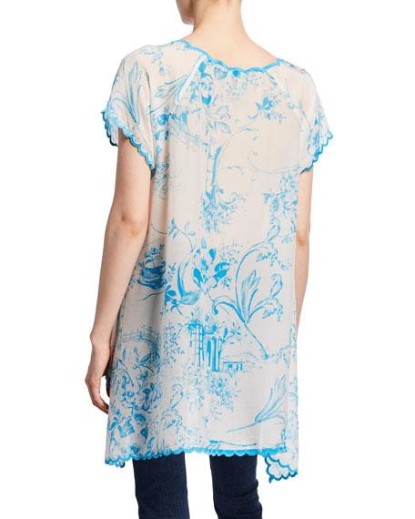 Johnny Was Muzuko Printed Flowy Georgette Tunic w/ Scallop Embroidered Hem