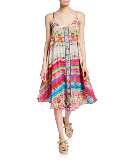 Johnny Was Taleah Printed Scoop-Neck Sleeveless Georgette Dress with Slip