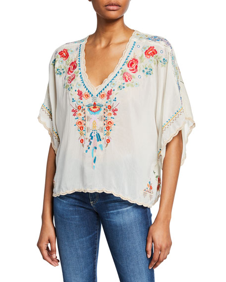 Johnny Was Klarah Embroidered V-Neck Cropped Blouse with Printed Back