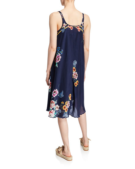 Johnny Was Taleah Floral Scoop-Neck Sleeveless Georgette Dress w/ Slip